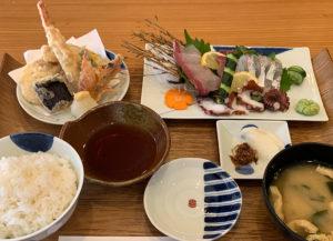 刺身天ぷら定食(車海老)